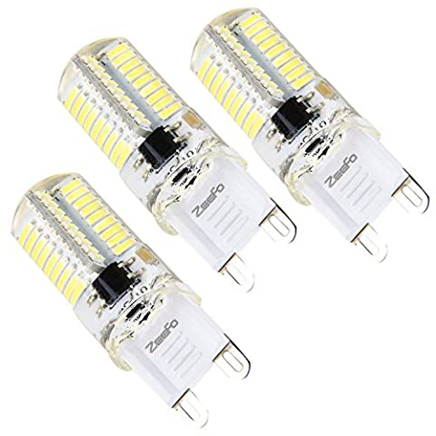 ZEEFO G9 LED Bulbs, 4W Daylight White, 6000K Light Bulb, 360 Degree Bi-pin Base 72 X 4014 SMD LED Dimmable Bulb, AC 230V For Chandeliers, Ceiling Lights, Interior Lighting Fitting (3