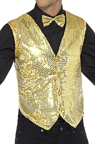 Kostüm Golden Dress - Smiffys Herren Pailletten Weste, Größe: XL, Gold, 42937