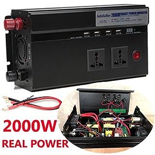 AutoFu 2000W Wechselrichter, 12V auf 220V KFZ dc-ac Power Converter–2GB, 4USB-Anschlüsse und 2Zigarettenanzünder Steckdosen, Schwarz, mit hochwertiger 2-y.