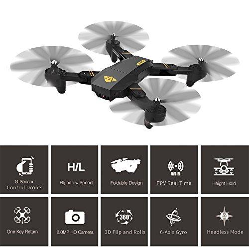 RC Drohne, XS809W Faltbare RC Quadcopter Drone mit 2M HD Kamera WIFI FPV Höhehalten Funktion