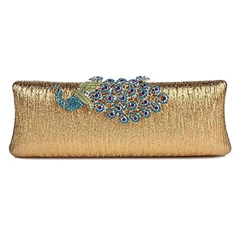 Damara Womens Rhinestone Peacock Clasp Hardcase Cocktail Clutch Evening Handbag,Gold