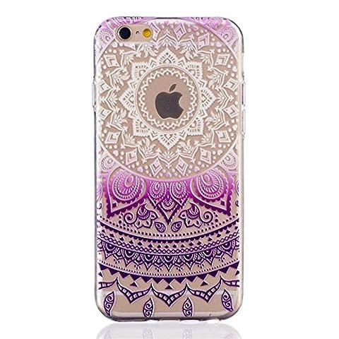 TKSHOP TPU Étui Coque - Transparente Silicone Housse pour iphone 6 iphone 6s Ultra Mince Légère Souple Case Cover Anti Choc Couverture Protecteur - Indien Tribal Mandala Violet foncé