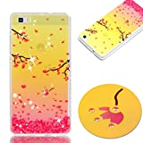 Pour Huawei P8 Lite Case Cover, Ecoway TPU Soft Silicone Golden background personalized pattern Housse en silicone Housse de protection Housse pour téléphone portable pour Huawei P8 Lite - cerise
