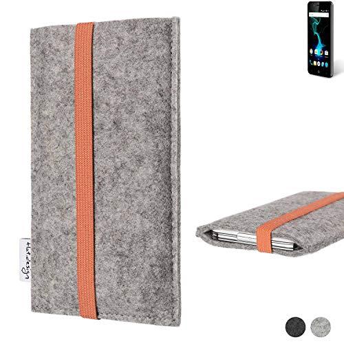 flat.design Handy Hülle Coimbra für Allview P6 Pro - Schutz Case Tasche Filz Made in Germany hellgrau orange