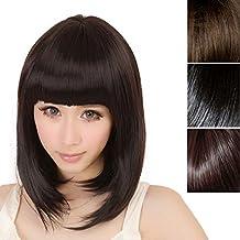 Malloom®moda mujer corto derecho flequillo completo BOBO pelo sintético cosplay peluca (marrón oscuro)