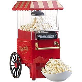 Rosenstein & Söhne Popcorn-Automaten: Retro-Heißluft-Popcorn-Maschine, Miniatur-Rollwagen-Optik, 1.200 Watt (Popcorngerät)