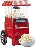 Rosenstein & Söhne Popcornmaker: Retro-Heißluft-Popcorn-Maschine, Miniatur-Rollwagen-Optik, 1.200 Watt (Popcorn-Selbermachen)