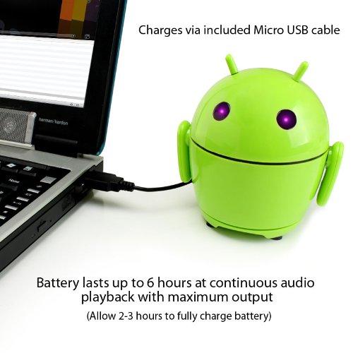 GOgroove PalBot - Altavoz Portátil Muñeco Android Recargable - Compatible con Apple iPhone 6, Plus, 5s/Sansung Galaxy S6, S5/Motorola Nuevo Moto G/Google Nexus 5/BQ Aquaris E5