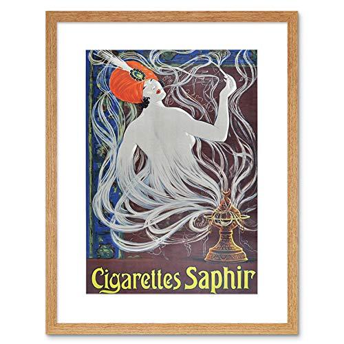 ADVERT CIGARETTES SAPHIR SMOKING TURBAN ART NOUVEAU FRAMED ART PRINT B12X6145 -