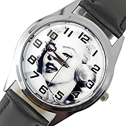 TAPORT® MARILYN MONROE Quartz ROUND Watch BLACK Real Leather Band COLOUR Dial+FREE SPARE BATTERY+FREE GIFT BAG