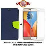Like It Grab It Luxury Mercury Diary Wallet Style Blue Flip Cover Case For Motorola Moto E4 Plus Flip Cover - Moto E4 Plus Flip Cover + 2.5D Curved 3D Edge To Edge Tempered Glass Mobile Screen Protector (Blue-White)