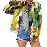 Damen Pullover Felicove, flauschige Kunstpelz Farbe Mischmantel Frauen Haarige Langarm Mantel Jacke Mantel