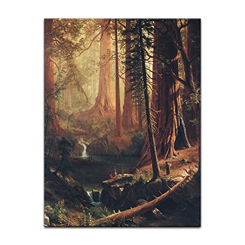 Bild ohne Rahmen - Albert Bierstadt Giant Redwood Trees of California 60x80cm ca. A1 - Kunstdruck Poster Alte Meister