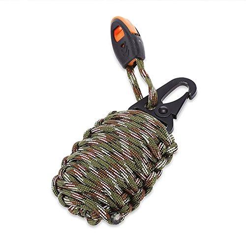 SHOP-STORY - Grenade de Survie - kit de 21 Pièces avec Mousqueton - Camouflage
