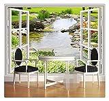 Benutzerdefinierte Fototapete Tapete Moderne Einfache 3D Fenster Garten Kleine Fluss Blume Gras Fresko Wohnzimmer Schlafzimmer Fotowandpapier, 200Cmx140Cm