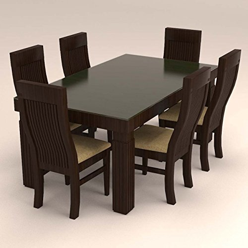 Contemporary Style 6 Seater Dinning Set With Glass Top.