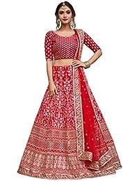 Meghalya Women's Art Silk Lehenga Choli (Arya_S804_Vn,Red,Free Size)