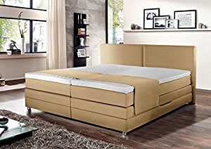 boxspringbett boxspring boxspringsystem bett springboxbett boxbett beige meliert. Black Bedroom Furniture Sets. Home Design Ideas