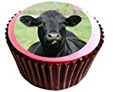 Cow (black) edible cake toppers (12 of 38mm 1.5inch) #79