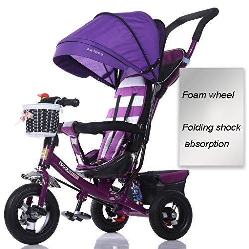 Kinderfahrräder, Dreiräder, Klappräder 1-6 Jahre alt, Kinderwagen, abnehmbare Stoßstangen, Markisen ( Color : Purple ) Doppel-kinderwagen Abnehmbare