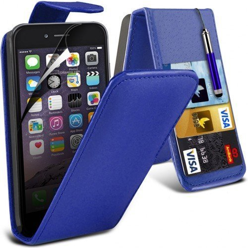 Apple iPhone 6S Leather Flip Case Cover (Blue) Plus Free Gift, Screen Protector and a Stylus Pen, Order Now Best Valued Phone Case on Amazon! By FinestPhoneCases