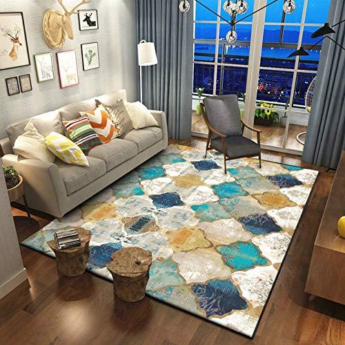 RR-CZY Marokko Wohnzimmer Teppich Amerikanischen Schlafzimmer Teppich Wohnkultur Sofa Teppich Couchtisch Bodenmatte Studie Vintage Persische Teppiche, 120x160cm