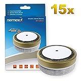 15x Nemaxx Detector de Humo M1-Mini sensibilidad fotoeléctrica - con batería de Litio Tipo DC3V - Conforme la Norma DIN EN14604 & VDS - Dorado