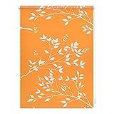 Lichtblick KRT.120.180.120 Rollo Klemmfix, ohne Bohren, blickdicht, Ficus - Orange Weiß - 120 cm x180 cm (B x L)