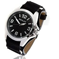 Mens Henley Watch with Black Canvas Strap