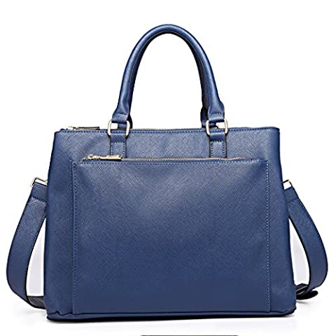 Miss Lulu Leisure Fashion Faux Leather Women Tote Shoulder Briefcase Handbag (1438 Navy)