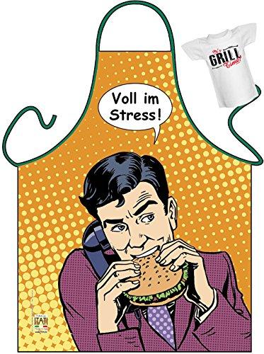 Workoholic Motiv Kochschürze Schürze Fastfood : Voll im Streß! -- Themenschürze + Mini Flaschenshirt (Volle Latzschürze)