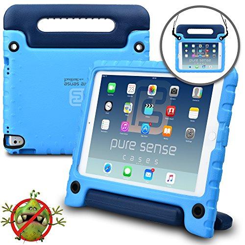 Apple Pro 9.7 / iPad Air 2 Hülle für Kinder, PURE SENSE BUDDY robust antibakteriell keimfrei Schultergurt strapazierfähig Kinder widerstandsfähig stoßsicher Spielzeug Schutz tragbar Schutzhülle + Griff, Standfunktion, Displayschutz (Blau)