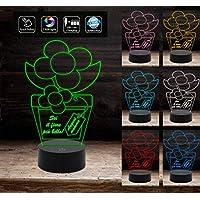 Pianta con fiore e frase personalizzata IDEA REGALO originale compleanno FESTA DELLA MAMMA Lampada luce notturna con 7 colori a led selezionabili