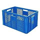 4x Eurobehälter durchbrochen / Stapelkorb, Industriequalität, lebensmittelecht, LxBxH 600 x 400 x 320 mm, blau