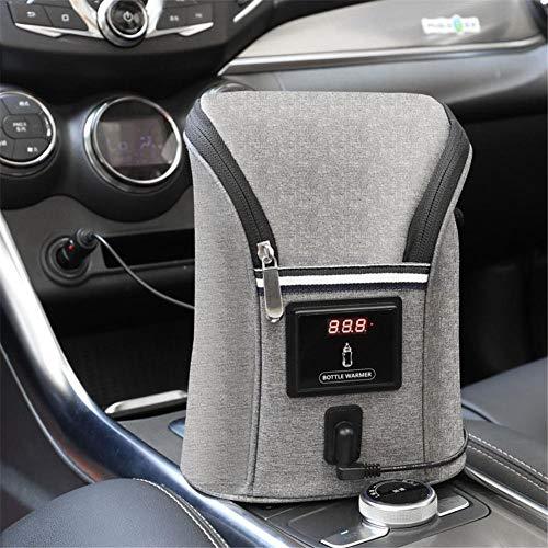 xuanyang524 Auto Doppelflaschenwärmer Heizung Keeper Baby Infant Isolierung Thermostat Heizung Outdoor Tragbare mit Echtzeitanzeige Temperatur für Babypflege (Grau) Beautifully