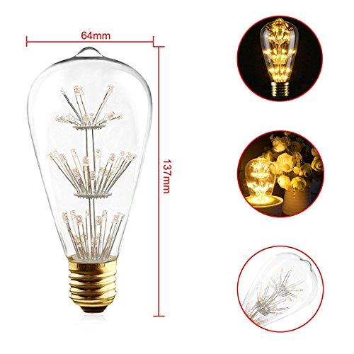 KINGSO E27 ST64 LED Stern Edison Glühbirne 3W 47led Dekorative Vintage Glühlampe Kronleuchter Deko Birne Ideal für Nostalgie und Retro Beleuchtung 220V mit Zertifikat Warmweiß - 3