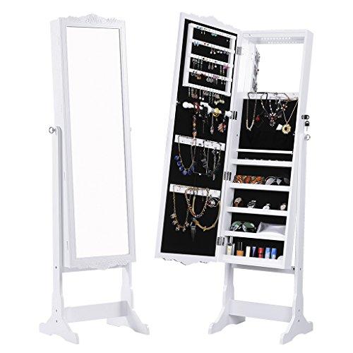 LANGRIA Schmuckschrank Floralen Geschnitzt Spiegelschrank, mit LED Beleuchtung, Abschließbar, Aufbewahrung für Schmuck und Kosmetik