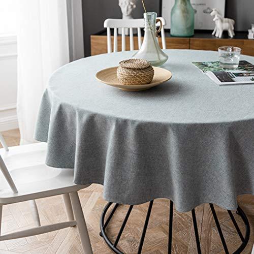 Aimli-Home Tischdecke Rund, Abwaschbar Dickes Polyester Gewebe ,Nordischer Stil,Pflegeleicht,für Outdoor Garten und Familie, Grau - Durchmesser 130cm