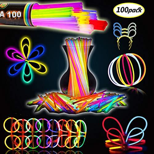 """BESTZY 100 Pezzi Braccialetti Luminosi Fluorescenti Glow Stick,8 """" Premio Bracciali,Collane,Kit per Creare Bicchieri,Braccialetti Triplici,Fascia,Orecchini,Fiori, Glow Ball"""