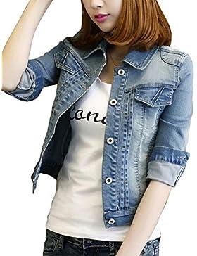 Donne Cadono Maniche Lunghe Pulsante Lavato Ragazzo Stile Giacca di Jeans Outcoats