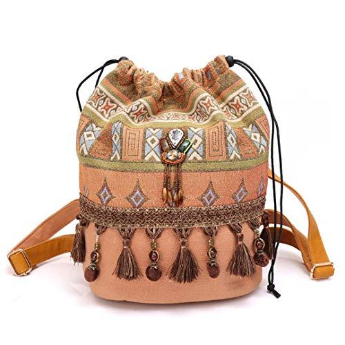 Kate Spade-strand-tasche (Frauen Böhmischen Stil Rucksack Phantasie Taschen Leinwand Umhängetasche Boho Baumwollgewebe Tasche Yellow)