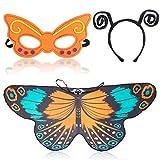 Beelittle Butterfly Wings Costume 3 Pezzi Fancy Dress-Up Set Ali di Farfalla Cape Scialle con Antenna Fascia e Maschera per Ragazze Bambini (Ciano Arancio)