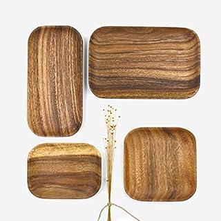 Parendory Keine Farbe Holz Akazie Acacia Muji Im Japanischen Stil Tablett Quadratische Ursprüngliche Holz- Teller Obst Snacks, Akazie Square (Abcd).