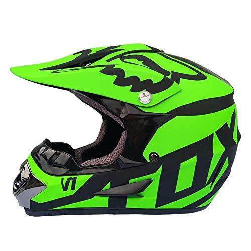 Dabobo Motocross Helm Full Face Motorradhelm Erwachsene Unisex Mountainbike Dirt Bike Helme-Mattgrün,S