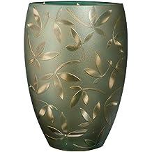 Jarrón de cristal grande hecho a mano de lujo – decorado con hojas de arena y pintadas – cristal sin plomo soplado en la boca – Jarrón decorativo centro ...