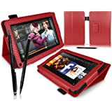 """iTALKonline PADWEAR Red CARBON FIBRE Multi Function Multi Angle Luxury Executive PU Leather Wallet Horizontal Stand Cover Typing With Case Professional Stylus Pen For Amazon Kindle FIRE Tablet 7"""" LCD Display, Wi-Fi, 8GB"""