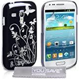 Yousave Accessories Floral Hard Back Cover Case für Samsung Galaxy S3 Mini – schwarz/silber