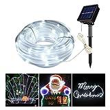 MEIKEE 8 Modi Solar Lichterschlauch 100 LEDs mit Speicherfunktion IP55 Lichterkette mit Sonnenkollektoren für Innen & Außen zum Schmücken von Weihnachten, Party Weiß [Energieklasse A+]