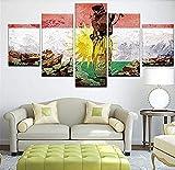 LHHFA Leinwanddrucke,Hd 3D Poster Bild Modulare Wohnzimmer Wandkunst 5 Teile Kurdistan Soldat Flagge Dekoration Malerei (Kein Rahmen) Größe 2