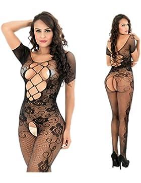 Ropa Interior Mujer,VENMO Mujer abierta entrepierna bodys perspectiva imprimir ropa interior pijama de malla Babydoll